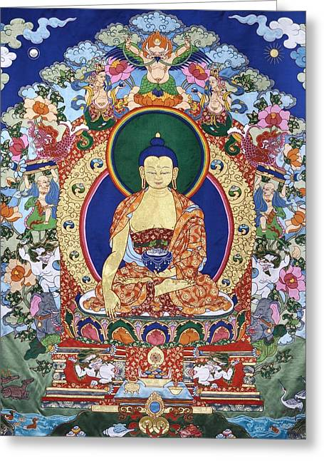 Textiles Tapestries - Textiles Greeting Cards - Buddha Shakyamuni and the Six Supports Greeting Card by Leslie Rinchen-Wongmo
