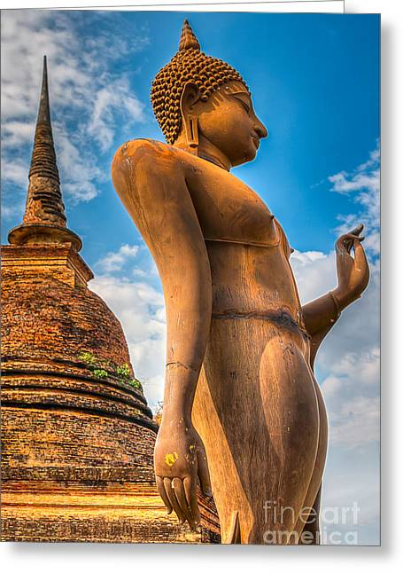 Religious Digital Art Greeting Cards - Buddha Statue Greeting Card by Adrian Evans