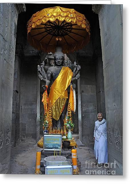 People Greeting Cards - Buddha statue at Angkor Wat Greeting Card by Sami Sarkis