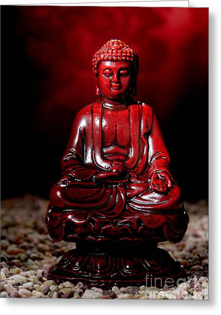 Sacred Greeting Cards - Buddha Statue Figurine Greeting Card by Olivier Le Queinec