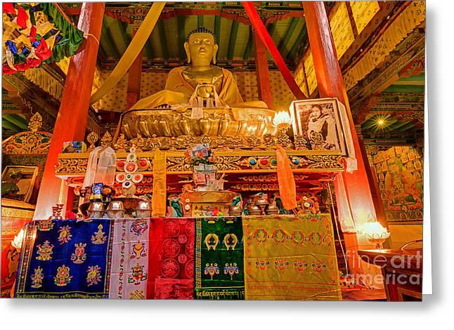 """prayer Room"" Greeting Cards - Buddha Statue  Hemis monsatery Leh Ladakh Jammu and Kashmir India Greeting Card by Rudra Narayan  Mitra"