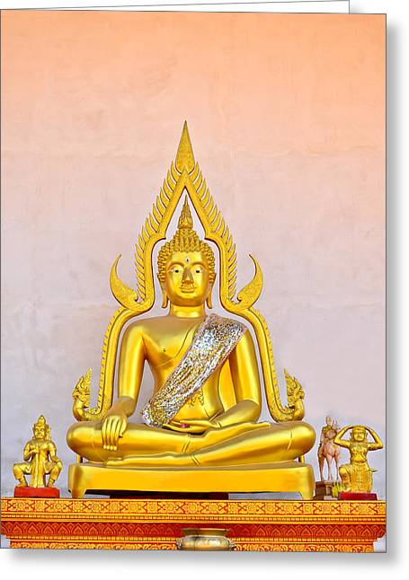 Calm Sculptures Greeting Cards - Buddha Statue Greeting Card by Keerati Preechanugoon