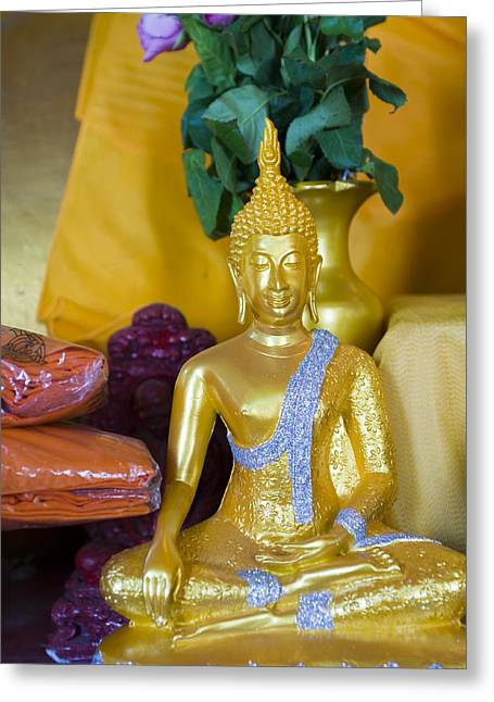 Treasures Pyrography Greeting Cards - Buddha statue Greeting Card by Nicolae Feraru
