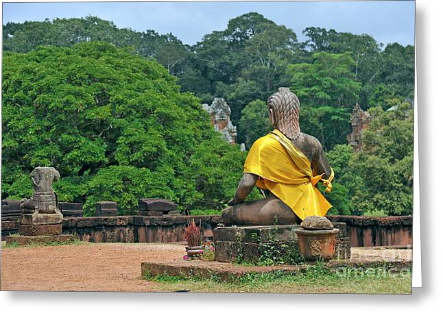 Buddha statue wearing a yellow sash Greeting Card by Sami Sarkis