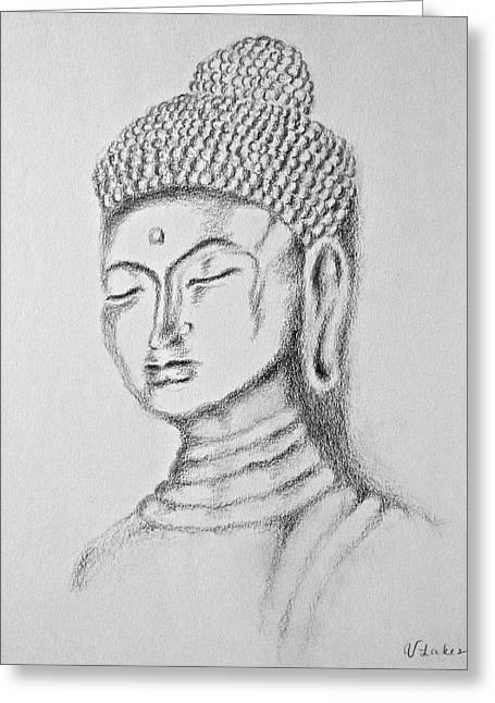 Buddha Study Greeting Card by Victoria Lakes