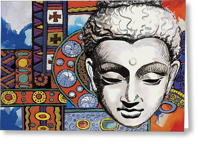 Corporate Art Greeting Cards - Buddha Tapestry Style Greeting Card by Corporate Art Task Force