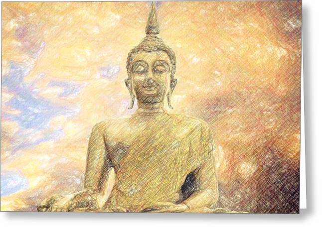 Existence Greeting Cards - Buddha Greeting Card by Taylan Soyturk