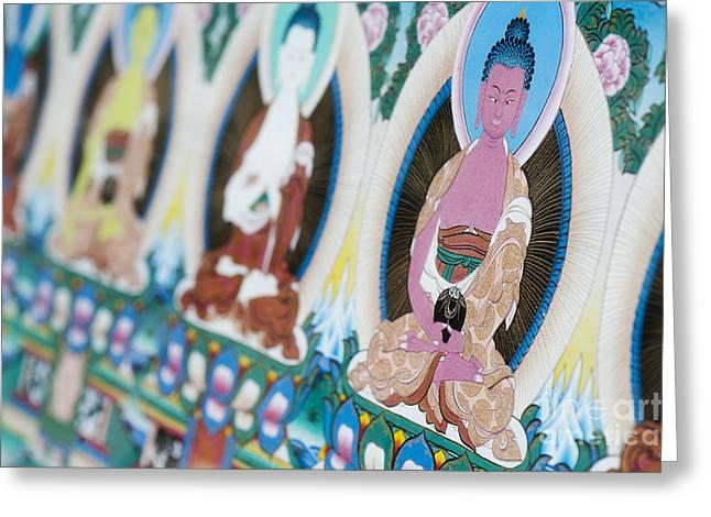 Thangka Greeting Cards - Buddha Thangka Greeting Card by Tim Gainey