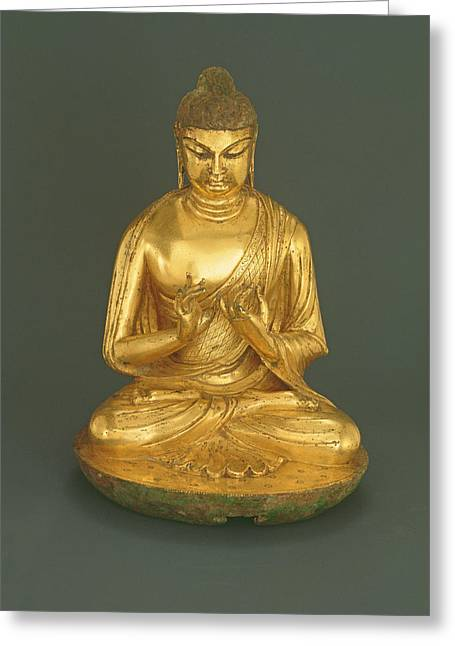 Seated Greeting Cards - Buddha Vairocana Dari, Tang Dynasty 618-907, Early 8th Century Gilt Leaded Bronze Greeting Card by Chinese School