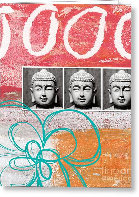 Blue Flowers Mixed Media Greeting Cards - Buddha With Flower Greeting Card by Linda Woods