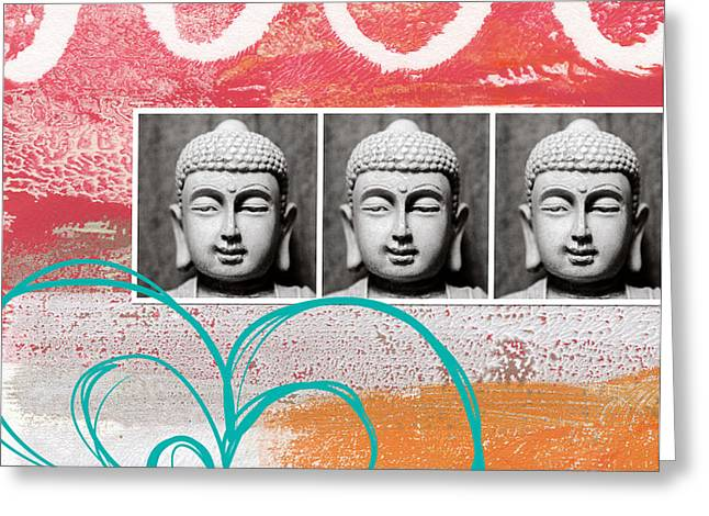 Buddha With Flower Greeting Card by Linda Woods