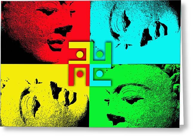 Worhol Greeting Cards - Buddha Worholstein Greeting Card by Mark Bloxwich