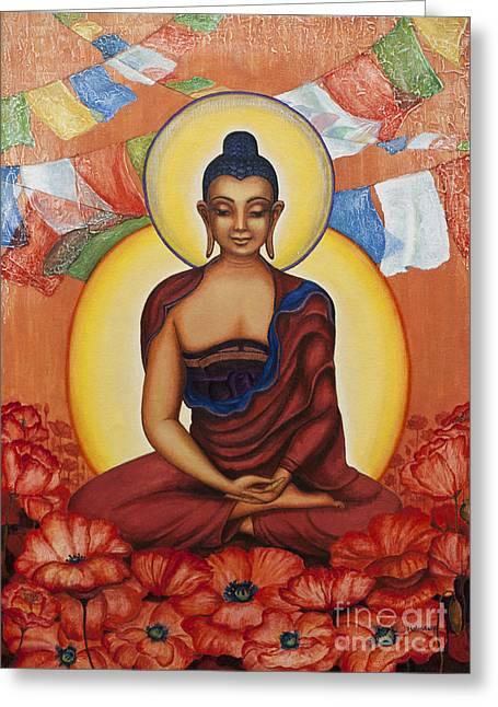 Tibetan Buddhism Greeting Cards - Buddha Greeting Card by Yuliya Glavnaya