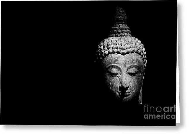Head Dark Buddha Greeting Cards - Buddharupa Greeting Card by Chatchai Somwat
