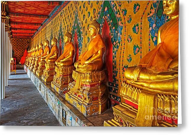 Historic Statue Greeting Cards - Buddhas At Wat Arun, Bangkok Greeting Card by David Davis