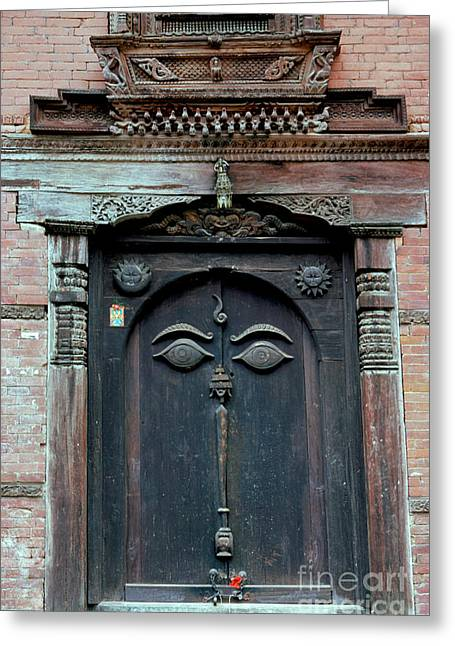 Hand Carved Greeting Cards - Buddhas Eyes on Nepalese Wooden Door Greeting Card by Anna Lisa Yoder