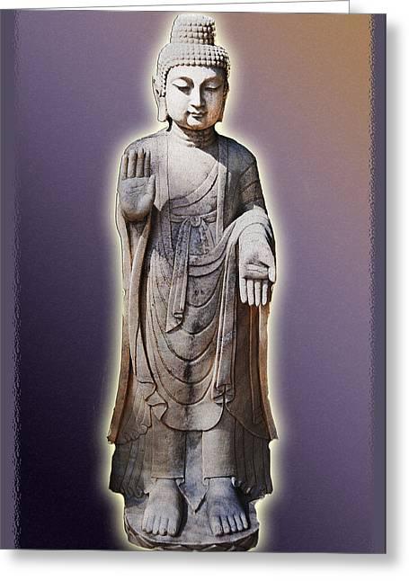 Grey Robe Greeting Cards - Buddhas Palm Greeting Card by Amira El Fohail