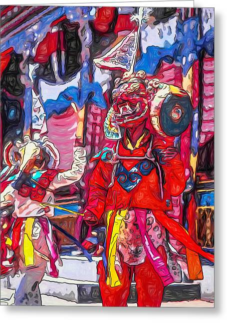 Tibetan Buddhism Greeting Cards - Buddhist Dancers 2 Greeting Card by Steve Harrington