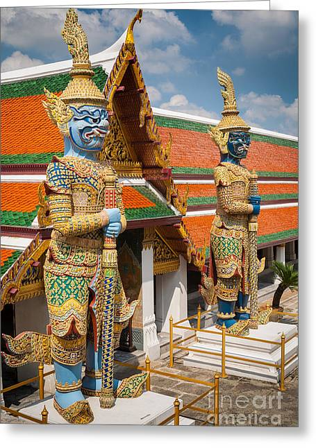 Buddhist Guardians Greeting Card by Inge Johnsson