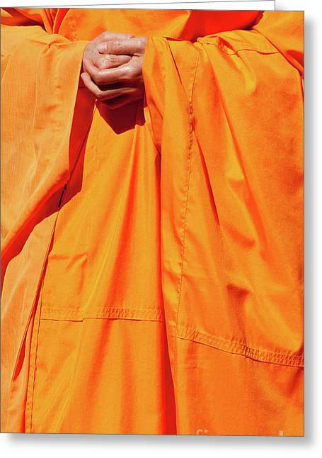 Buddhist Monks Greeting Cards - Buddhist Monk 02 Greeting Card by Rick Piper Photography