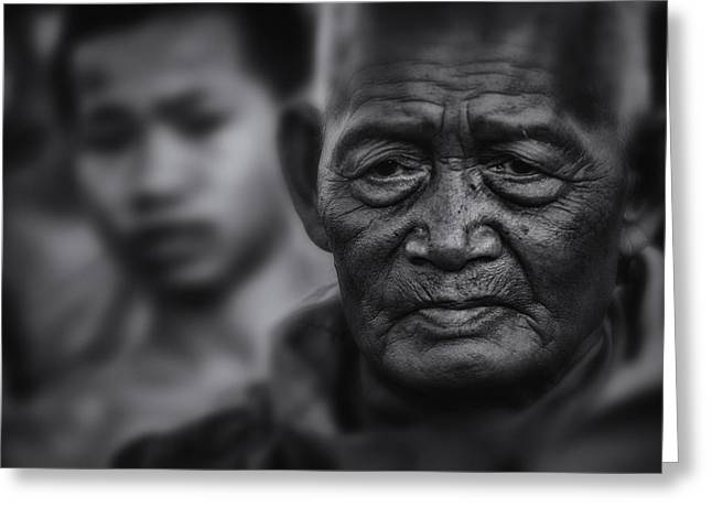 Monk-religious Occupation Greeting Cards - Buddhist Monk bw1 Greeting Card by David Longstreath