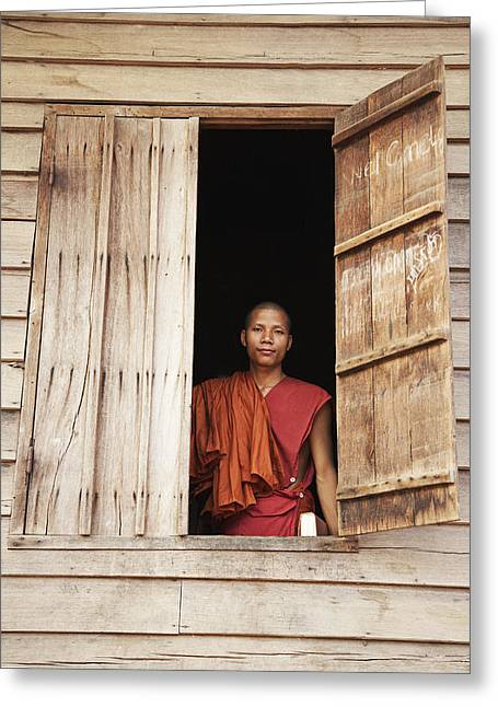 Locals Only Greeting Cards - Buddhist Monk In Window Greeting Card by Andy Kerry
