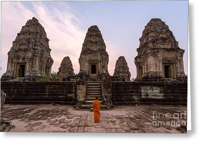 Real People Greeting Cards - Buddhist monk looking at temple - Angkor wat - Cambodia Greeting Card by Matteo Colombo
