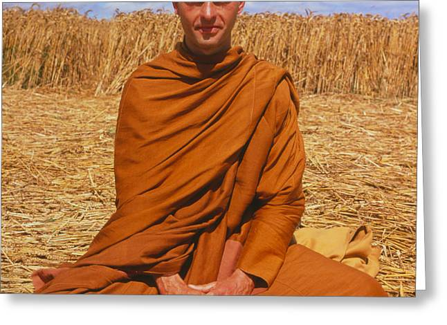 Buddhist Monk Meditating Greeting Card by David Parker and SPL