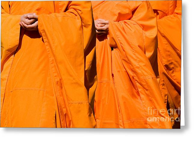 Buddhist Monks Greeting Cards - Buddhist Monks 02 Greeting Card by Rick Piper Photography