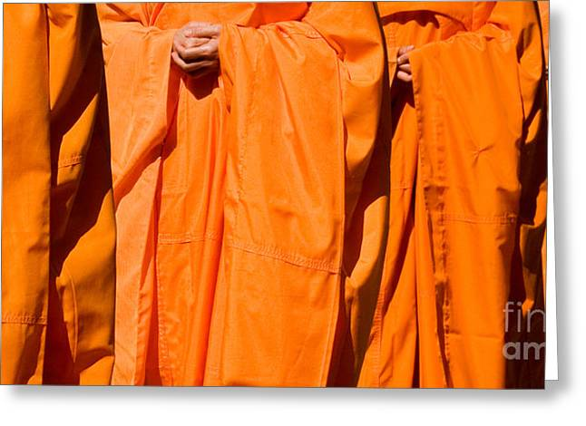 Buddhist Monks Greeting Cards - Buddhist Monks 03 Greeting Card by Rick Piper Photography