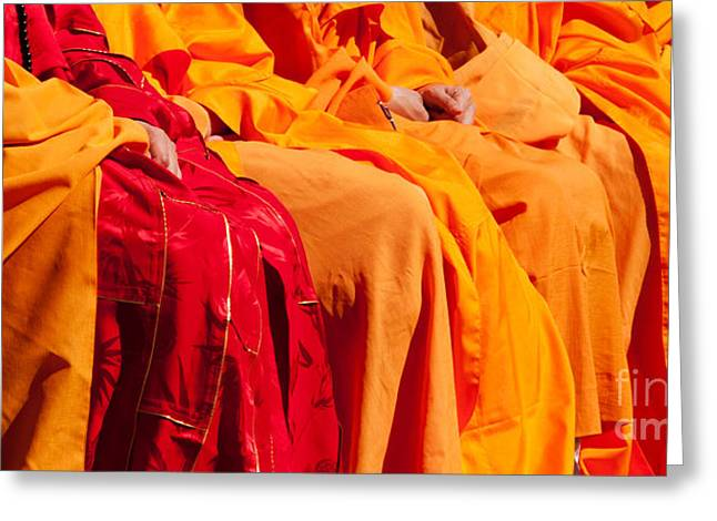 Buddhist Monks Greeting Cards - Buddhist Monks 04 Greeting Card by Rick Piper Photography