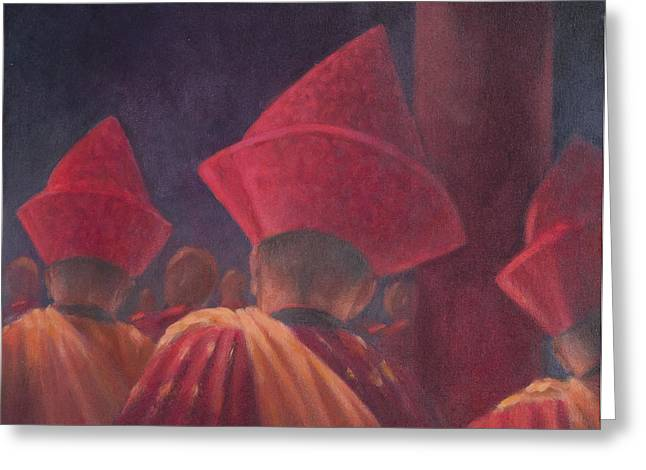 Buddhist Monks Greeting Cards - Buddhist Monks, Bhutan, 2012 Acrylic On Canvas Greeting Card by Lincoln Seligman