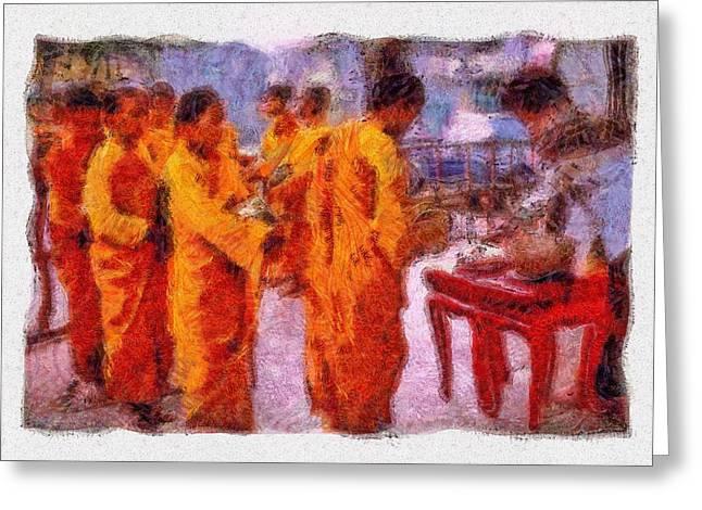 Mario Carini Paintings Greeting Cards - Buddhist Monks Feeding Hour Greeting Card by Mario Carini