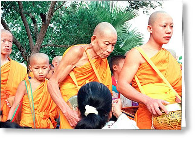 Belief Systems Greeting Cards - Buddhist Monks Luang Prabang Laos Greeting Card by Panoramic Images
