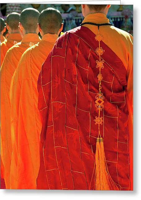 Buddhist Monks Greeting Cards - Buddhist Monks Greeting Card by Rick Piper Photography
