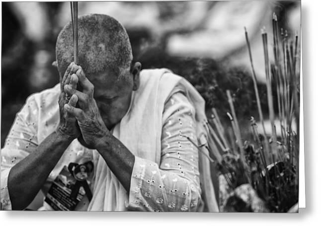 David Longstreath Greeting Cards - Buddhist Nun Prayers Greeting Card by David Longstreath
