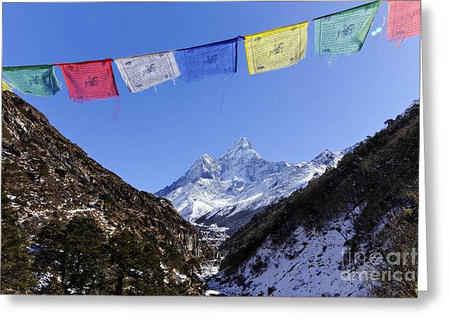 Buddhist Region Greeting Cards - Buddhist prayer flags and Ama Dablam mountain in the Everest Region of Nepal Greeting Card by Robert Preston