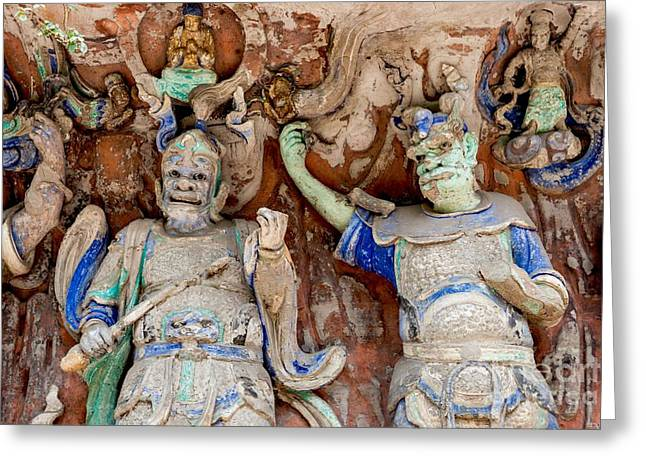 Sichuan Province Greeting Cards - Buddhist statue at Dazu Stone carvings China Greeting Card by Fototrav Print