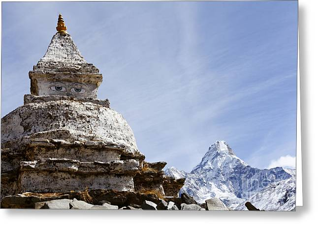 Buddhist Region Greeting Cards - Buddhist stupa and Ama Dablam mountain in the Everest Region of Nepal Greeting Card by Robert Preston