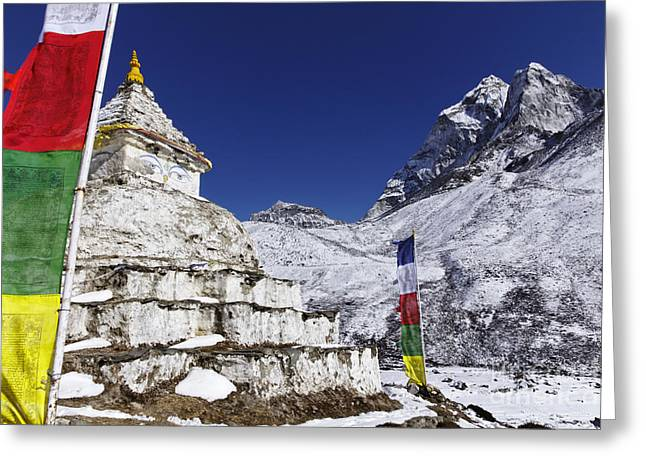 Buddhist Region Greeting Cards - Buddhist stupa and prayer flags at Dingboche village in the Everest Region of Nepal Greeting Card by Robert Preston