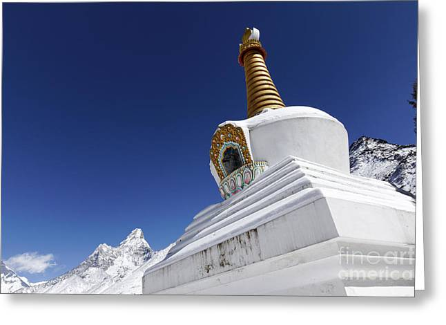 Buddhist Region Greeting Cards - Buddhist stupa at Tengboche monastery with the mountain of Ama Dablam behind it Everest Region Nep Greeting Card by Robert Preston
