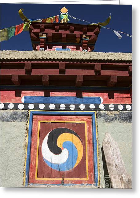 Kham Greeting Cards - Buddhist Symbol on Chorten - Tibet Greeting Card by Craig Lovell