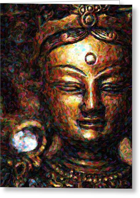 Religious Digital Art Greeting Cards - Buddhist Tara Deity Greeting Card by Tim Gainey