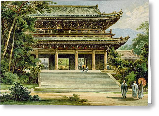 Buddhist Temple At Kyoto, Japan Greeting Card by Ernst Heyn