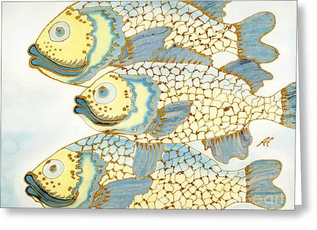 Dyes On Silk Greeting Cards - Buddies Greeting Card by Addie Hocynec