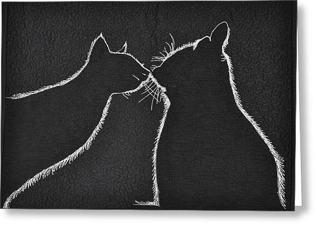 Thread Tapestries - Textiles Greeting Cards - Buddies Greeting Card by Jo Baner