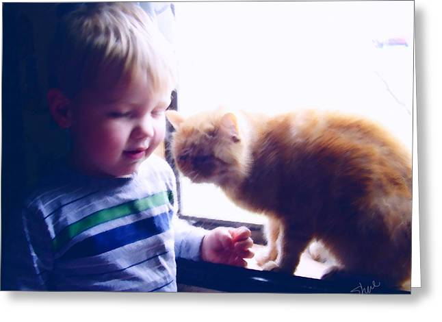Toddlers Poster Greeting Cards - Buddies Greeting Card by Shere Crossman