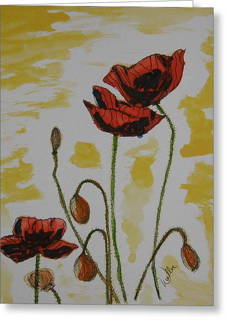 Marcia Weller-wenbert Greeting Cards - Budding Poppies Greeting Card by Marcia Weller-Wenbert