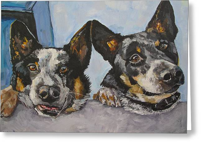 Buddy And Bandit Greeting Card by Kellie Straw