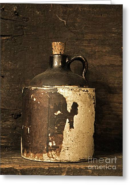 Distillery Greeting Cards - Buddy Bear Moonshine Jug Greeting Card by John Stephens